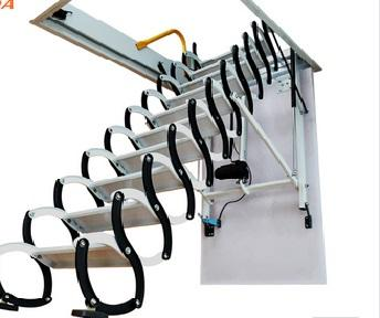 סולם חשמלי עם שלט טלסקופי לעליית גג